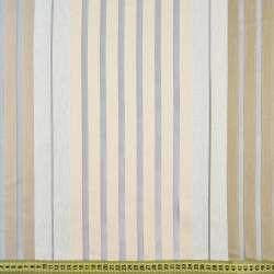 Органза серая светлая, бежево-белые шенилловые полоски, ш.150