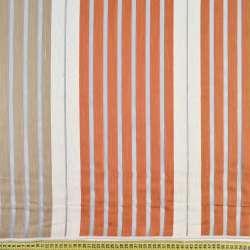Органза серая светлая, терракотово-белые шенилловые полоски, ш.150