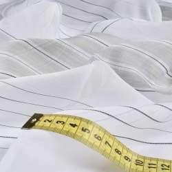 Вуаль белая в серебристо-серые ниточные полоски без утяжелителя, ш.150