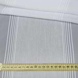 Вуаль белая с узкими жаккардовыми и широкими льняными полосами с утяжелителем, ш.300