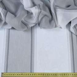 Вуаль біла в широку сіру смужку, вузькі атласні смужки, ш.300