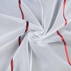 Вуаль біла в бордову, теракотові, сріблясту смужку, з обважнювачем, ш.300