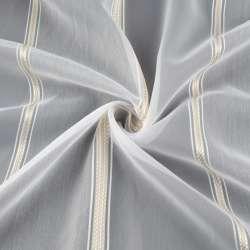 Вуаль тюль шифон смужки атласні бежеві, вузькі білі, біла з обважнювачем, ш.300