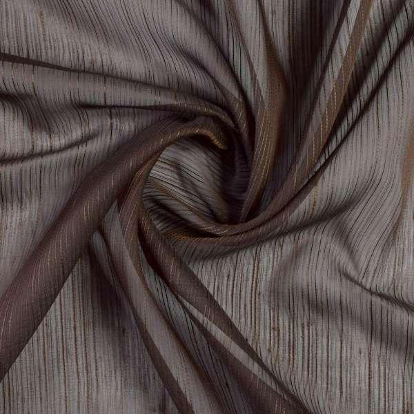 Вуаль коричневая с шелковыми коричневыми нитями с утяжелителем, ш.300