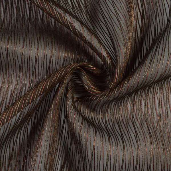 Органза коричневая с терракотово-коричневыми шенилловыми нитями, ш.300