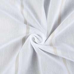 Вуаль молочна в біло-сірі, біло-бежеві смужки, обважнення, ш.300