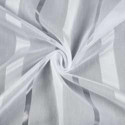 Вуаль біла в атласну бежево-білу, прозору смужку, з обважнювачем, ш.280