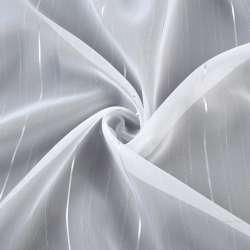 Вуаль тюль шифон смужки вузькі сріблясті, штрихи, біла з обважнювачем, ш.260
