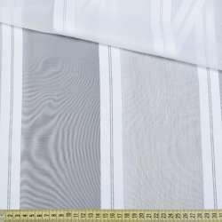 Вуаль біла з атласними білими смужками, з обважнювачем, ш.180