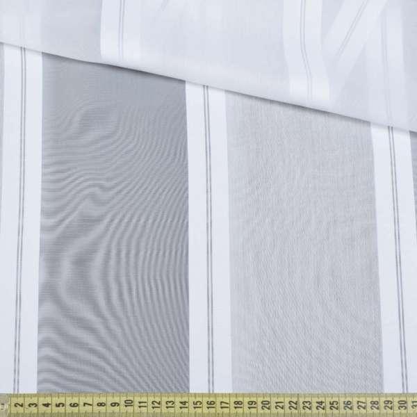 Вуаль белая с атласными белыми полосками, с утяжелителем, ш.180