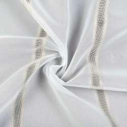Вуаль молочная с белыми, кремовыми сетчатыми полосами, с утяжелителем, ш.260