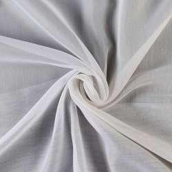 Вуаль жаккардовая белая в бежевые полоски без утяжелителя, ш.300