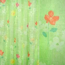 Вуаль світло-зелена з червоними квітами, ш.150