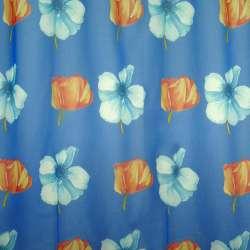 Вуаль синя червоні квіти