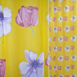 Вуаль набивна жовта з бузковими і рожевими квітами