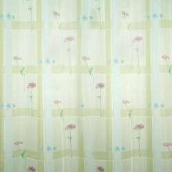 Вуаль зелена бліда з оливковими квадратами і рожево-блакитними квітами ш.145