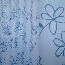 Вуаль голубая с синими цветами ш.140