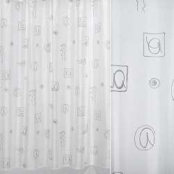 Вуаль біла з сірими квадратами і завитками ш.160
