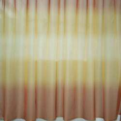 Вуаль набивна веселка коричнево-гірчично-бежева ш.145