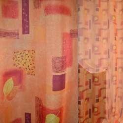 Вуаль оранжевая с прямоугол. и цветами ш.148