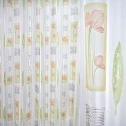 Вуаль белая с цветами в желтых прямоугольниках