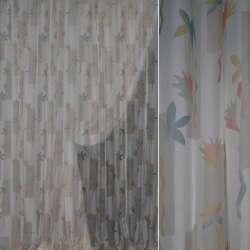 Вуаль біла з бежевими прямокутниками і яскравими квітами ш.300