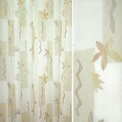 Вуаль біла з бежевими прямокутниками і рудо-коричневими квітами