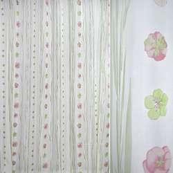 Вуаль белая с розовыми цветами, высокими листьями