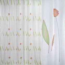 Вуаль белая с терракотовыми гвоздиками и листьями