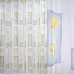Вуаль біла з жовтими квітами і блакитними квадратами