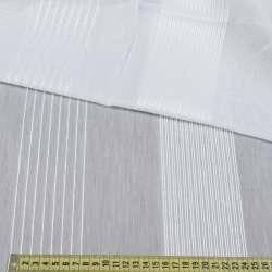 Вуаль біла в широкі ниткові смуги, обважнення, ш.300