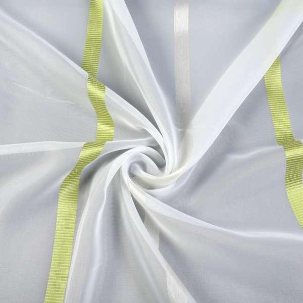 Вуаль молочная с жаккардовой зеленой полосой, кремовой атласной, с утяжелителем, ш.300