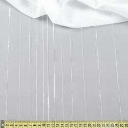 Вуаль молочная с ниточными, атласными полосками, с утяжелителем, ш.300