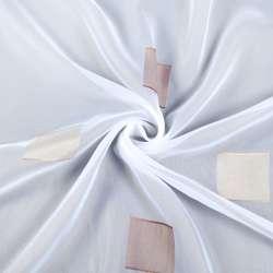 Вуаль біла в бежеві і корічевие квадрати, обважнення, ш.300