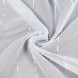 Вуаль белая с ниточными полосками, с утяжелителем, ш.300