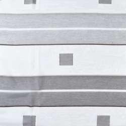 Вуаль біла в сірі смуги і квадрати, шеніллові вузькі смужки, ш.150