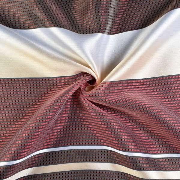 Вуаль в бордовые, коричневые, бежево-белые полоски, ш.140