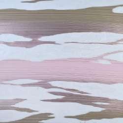 Вуаль деворе белая в розовые и бежевые волны, ш.140