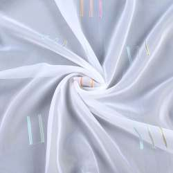 Вуаль деворе белая в оранжевые и бирюзовые штрихи, с утяжелителем, ш.260