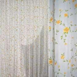 Вуаль деворе молочна з зеленим в'юнком і жовтими квітами ш.280