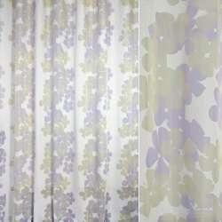 Вуаль деворе FUGGERHAUS белая в сиренево-серые цветы, с утяжелителем, ш.300