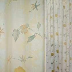 ткань гард.деваре сливочно-песочная с желтыми цветами
