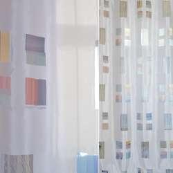 органза Деваре белая атл. с разноцвет. прямоугольниками