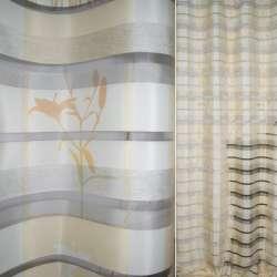 Органза деворе кремово-желтая с шелковыми полосками и цветами ш.144