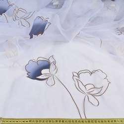 Органза біла в синьо-коричневі квіти, без обважнювача, ш.300