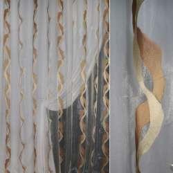 Мусс-органза кремовая с бежево-коричневыми волнами ш.280