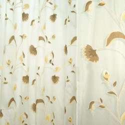 """органза """"Деваре""""св.беж. с коричнев-беж. цветами ш.295"""