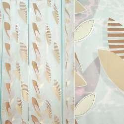органза Деваре белая с корич. листьями бирюз.пол ш.295