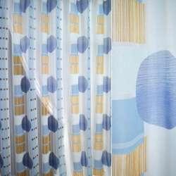Полуорганза деворе голубая с большими кругами и рыжими квадратами ш.280
