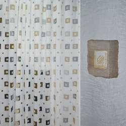 Полуорганза деворе креш белая с серыми и рыжими квадратами ш.280